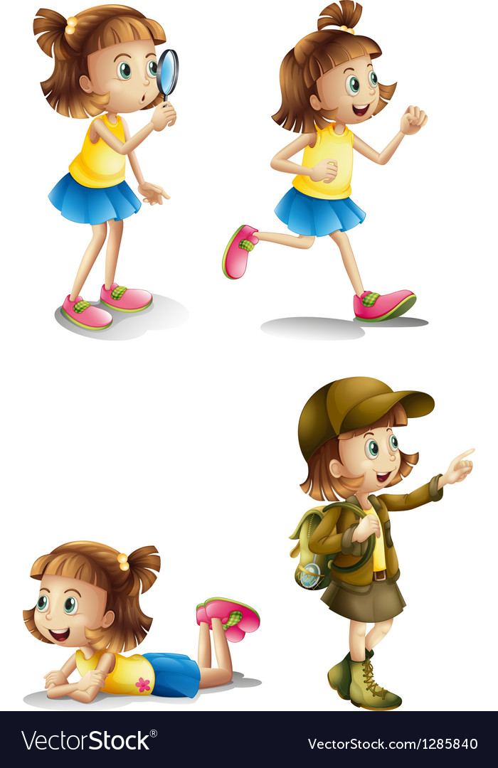 Different activities of a young girl vector | Price: 1 Credit (USD $1)