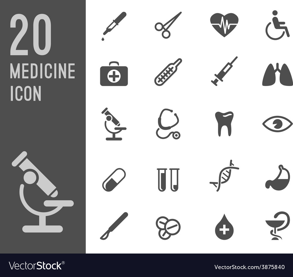 Flat health care and medical research icon set vector | Price: 1 Credit (USD $1)