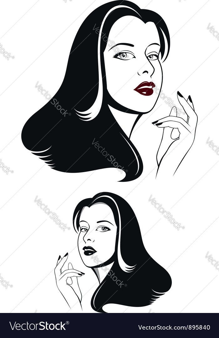 Glamour woman face vector | Price:  Credit (USD $)