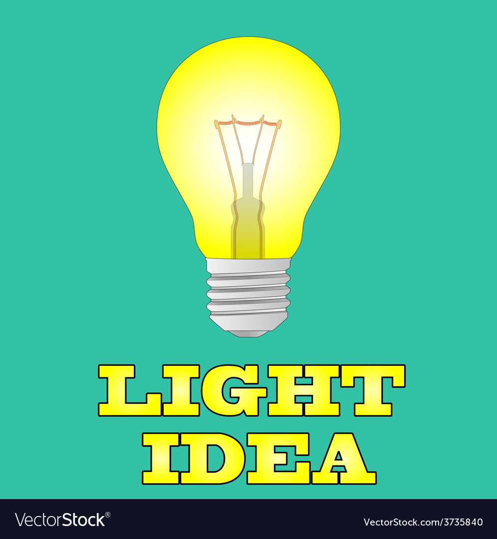 Glowing yellow light bulb as inspiration concept vector | Price: 1 Credit (USD $1)