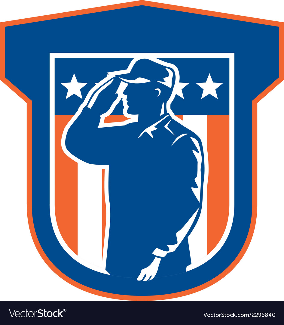 Miilitary serviceman salute side crest vector | Price: 1 Credit (USD $1)