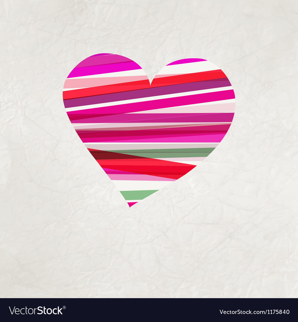 Retro heart made from color stripes eps 8 vector | Price: 1 Credit (USD $1)