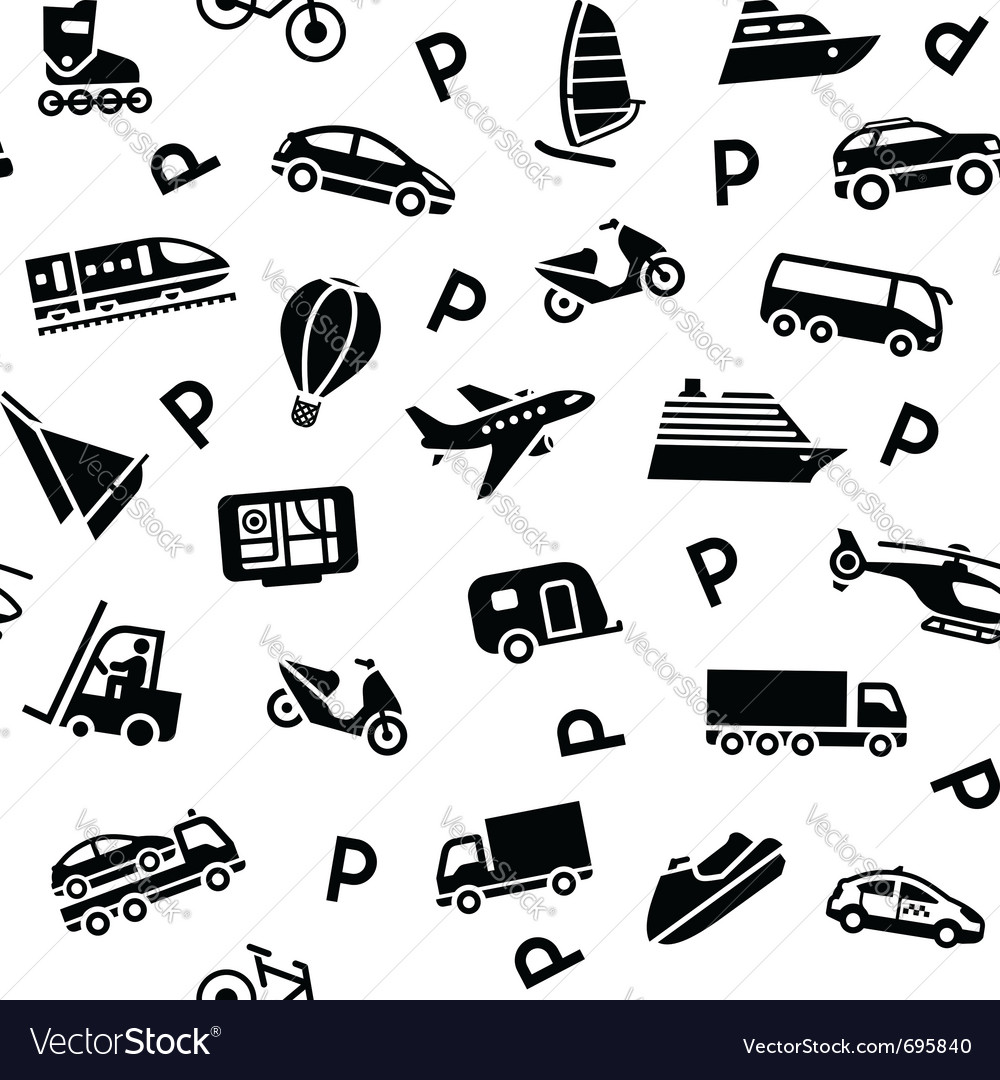 Seamless transport icons vector | Price: 1 Credit (USD $1)