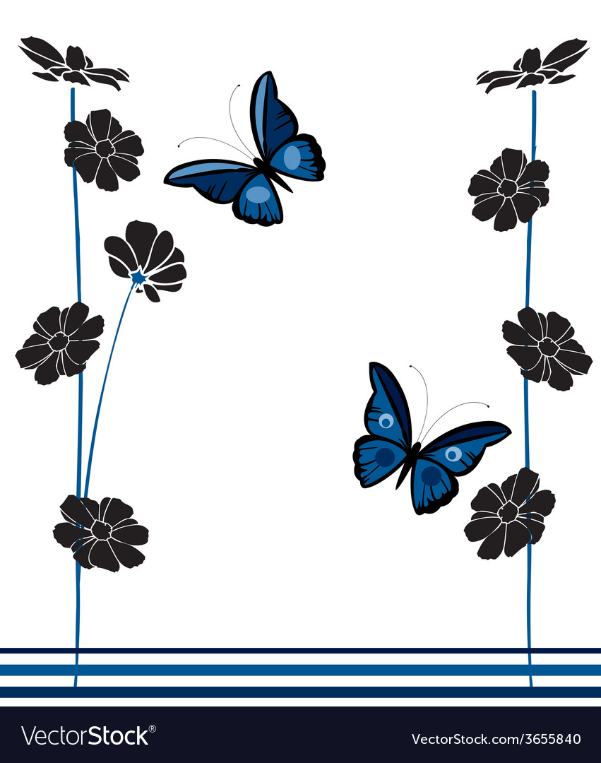 Vintage-butterflies-and-flowers vector | Price: 1 Credit (USD $1)