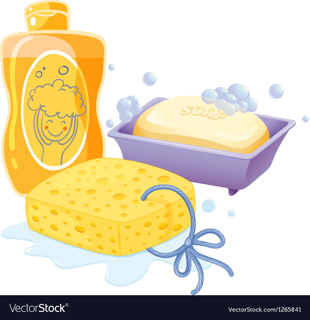 A sponge a soap and a shampoo vector | Price: 1 Credit (USD $1)