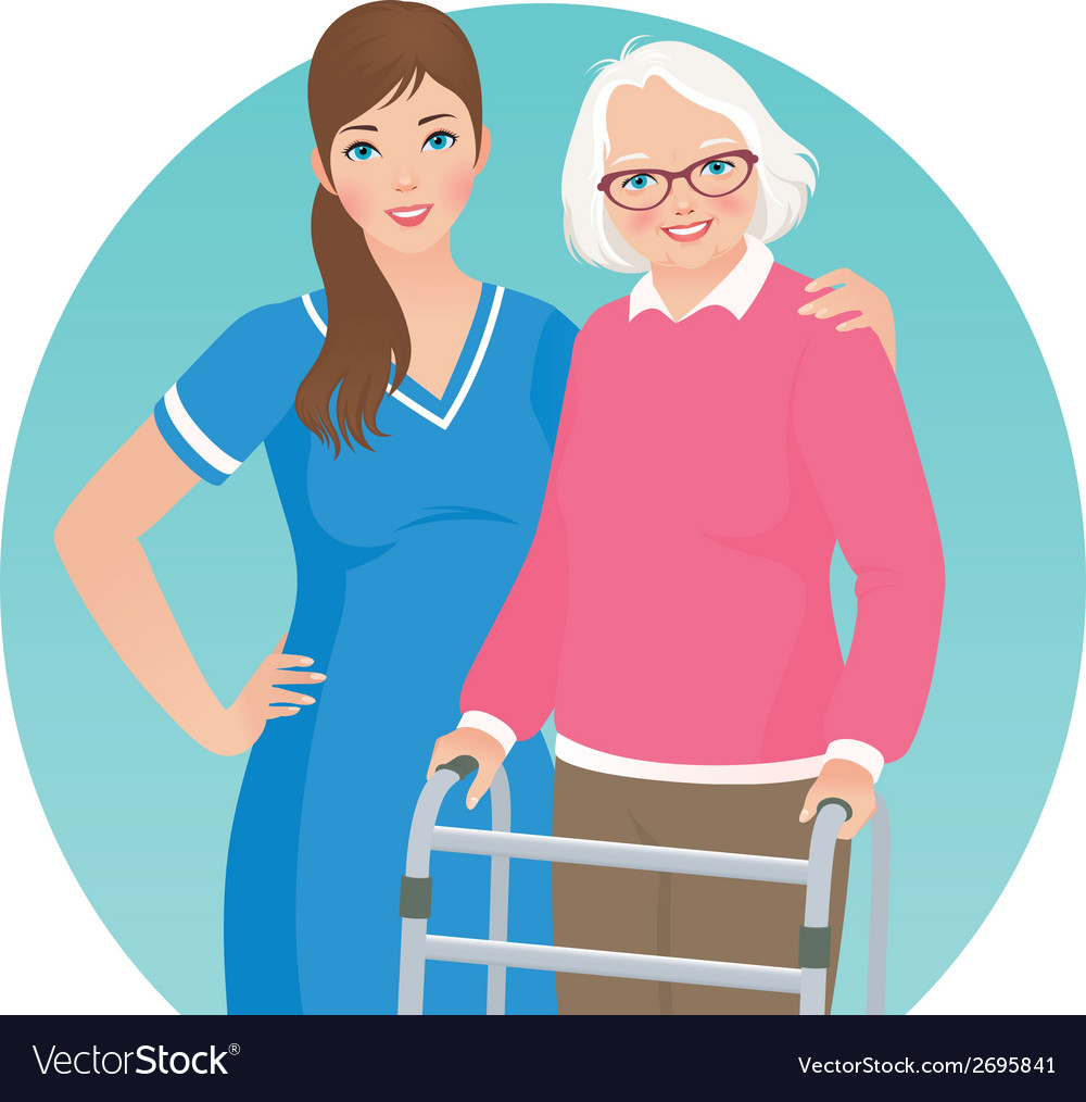 Elderly patient and a nurse vector | Price: 1 Credit (USD $1)