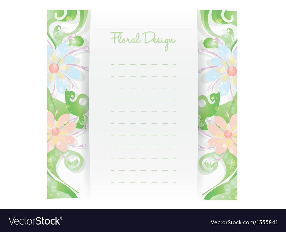 Floral card invitation template flower design vector | Price: 1 Credit (USD $1)