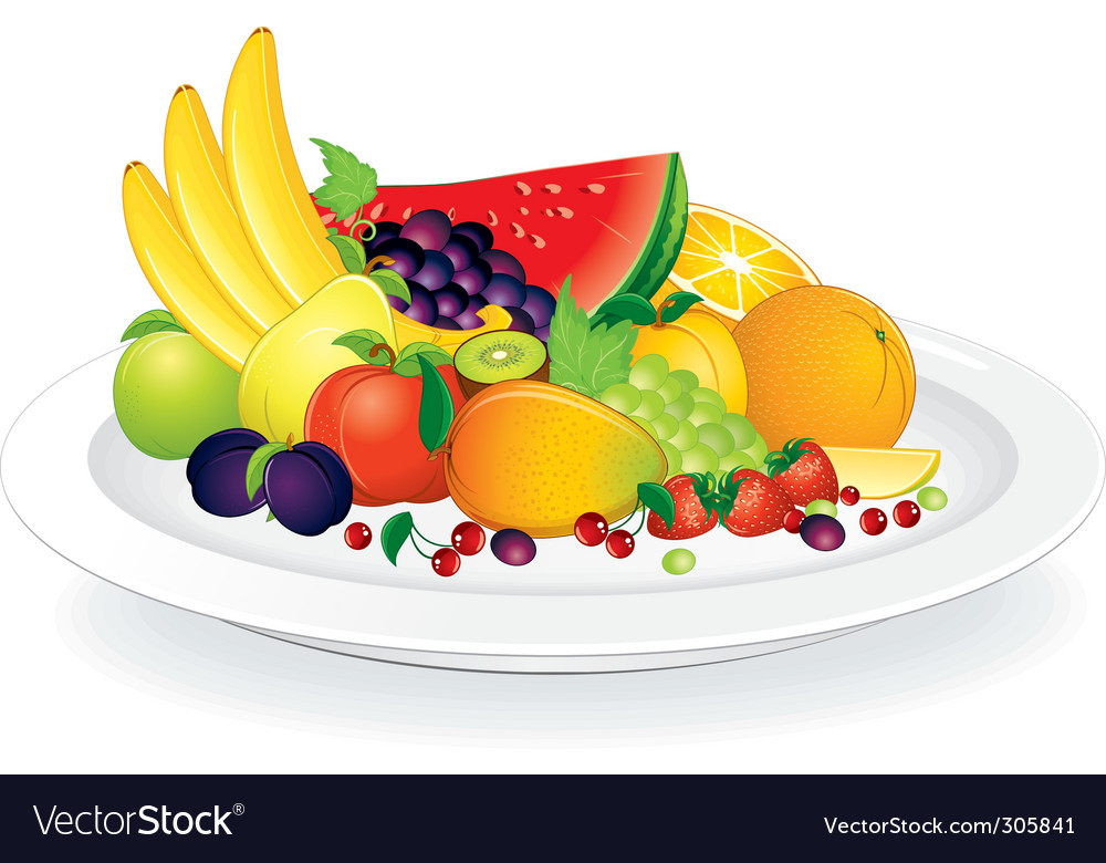 Fruit plate vector | Price: 3 Credit (USD $3)