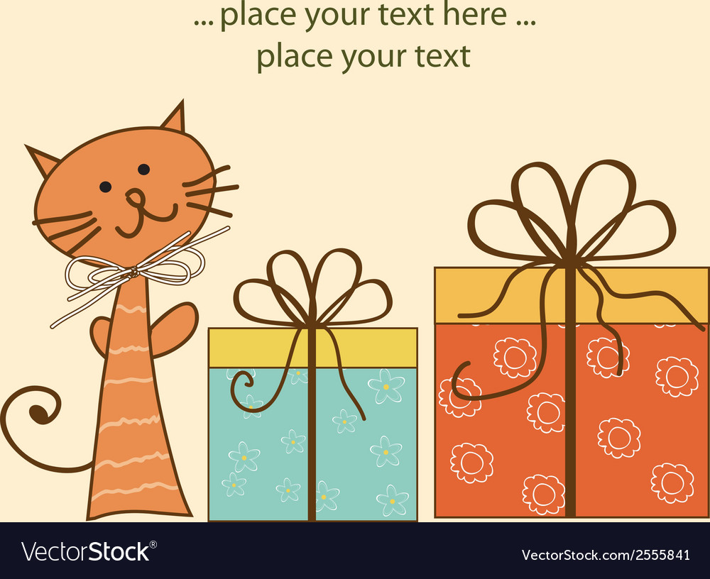 Greeting card with cat and presents vector | Price: 1 Credit (USD $1)