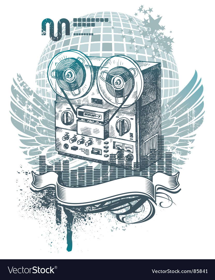 Hand drawn tape recorder vector | Price: 1 Credit (USD $1)