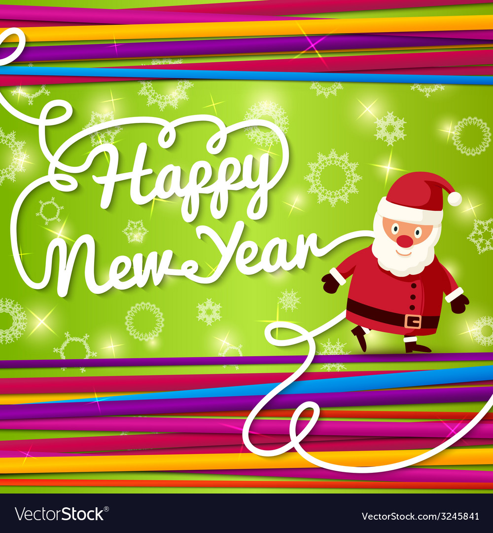 Happy new year greeting card on bright background vector | Price: 1 Credit (USD $1)