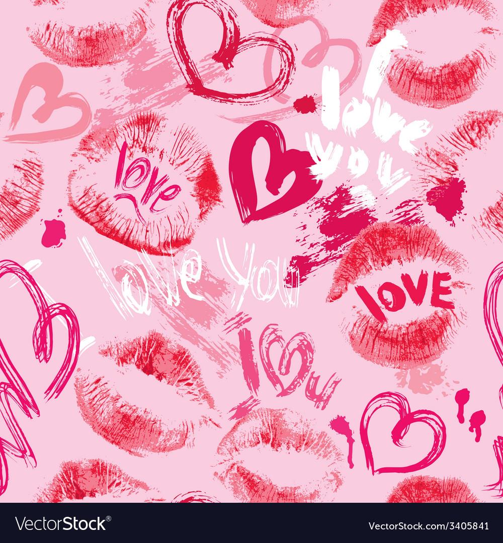 Lips hearts seaml 380 vector | Price: 1 Credit (USD $1)
