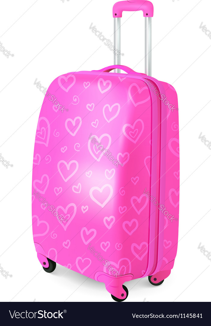 Pink glamour travelers suitcase vector | Price: 1 Credit (USD $1)