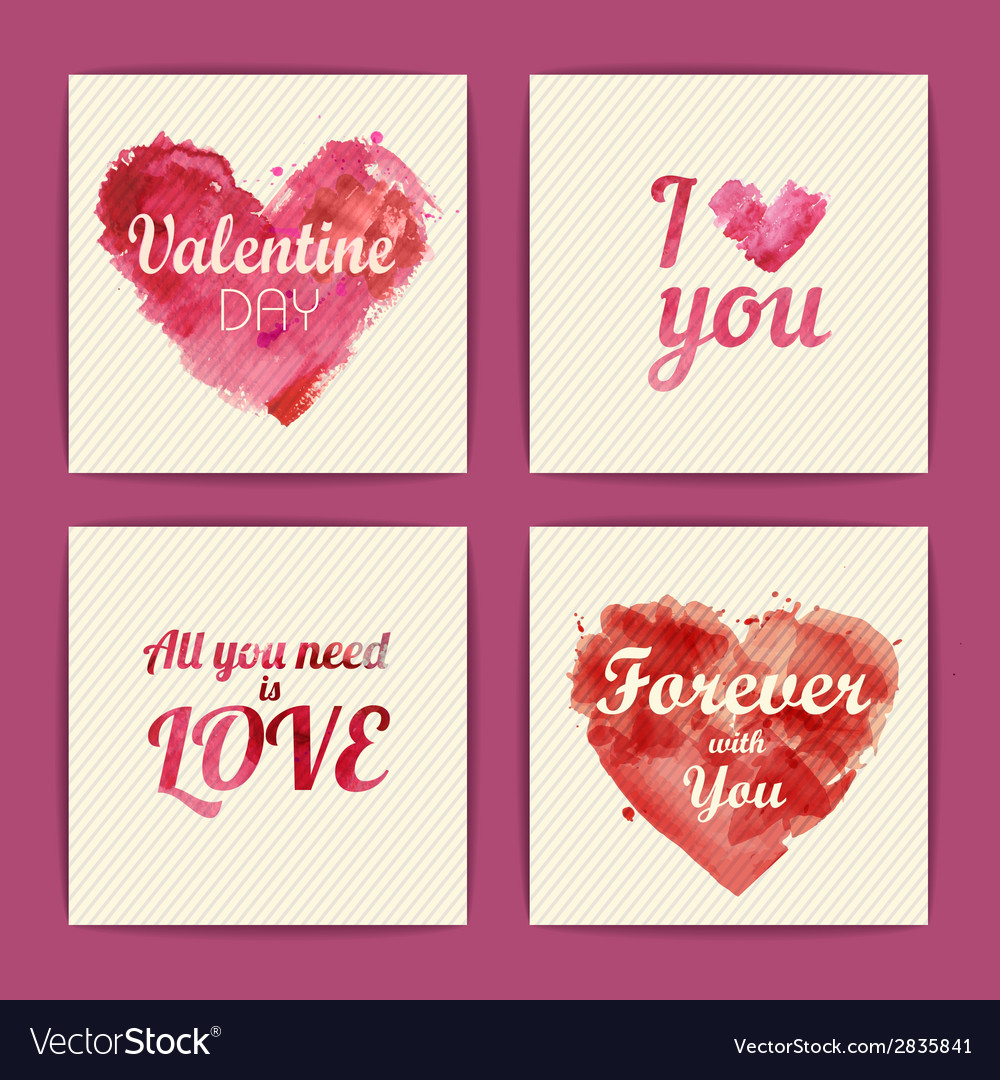 Set of watercolor valentine invitation cards vector | Price: 1 Credit (USD $1)