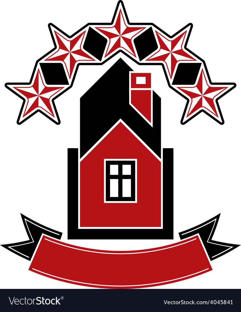 Simple house with five stars and classic ribbon vector | Price: 1 Credit (USD $1)