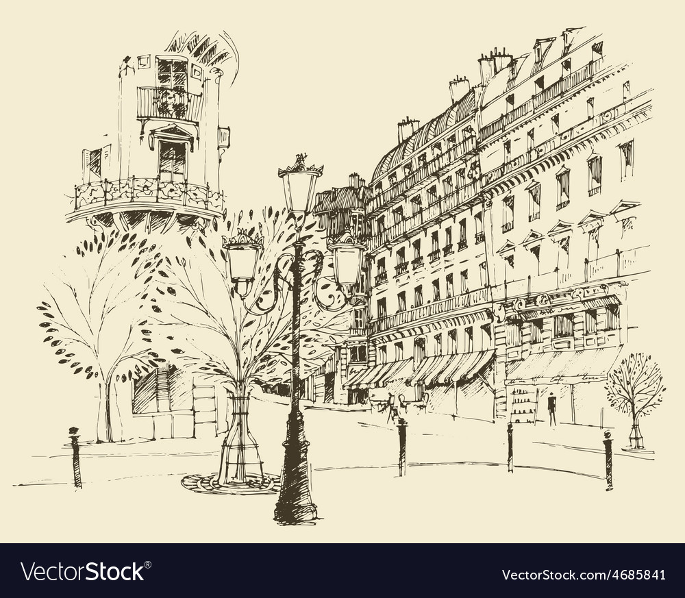 Streets in paris france vintage engraved vector