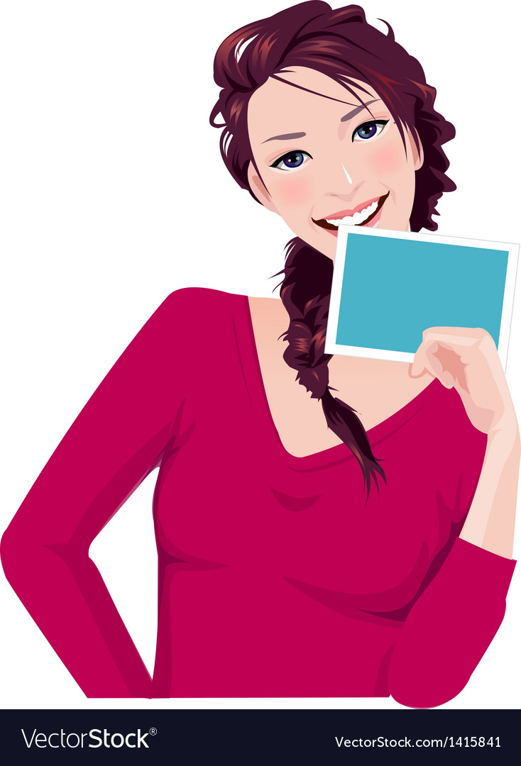 Woman holds photo frame vector | Price: 3 Credit (USD $3)