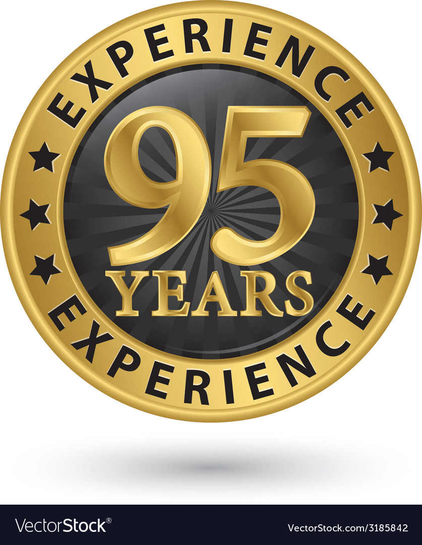 95 years experience gold label vector   Price: 1 Credit (USD $1)