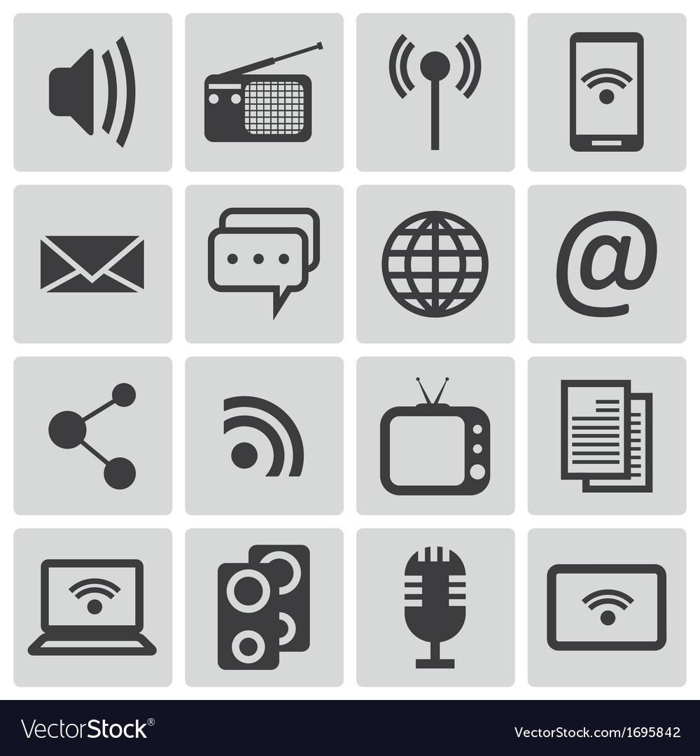 Black media icons set vector | Price: 1 Credit (USD $1)