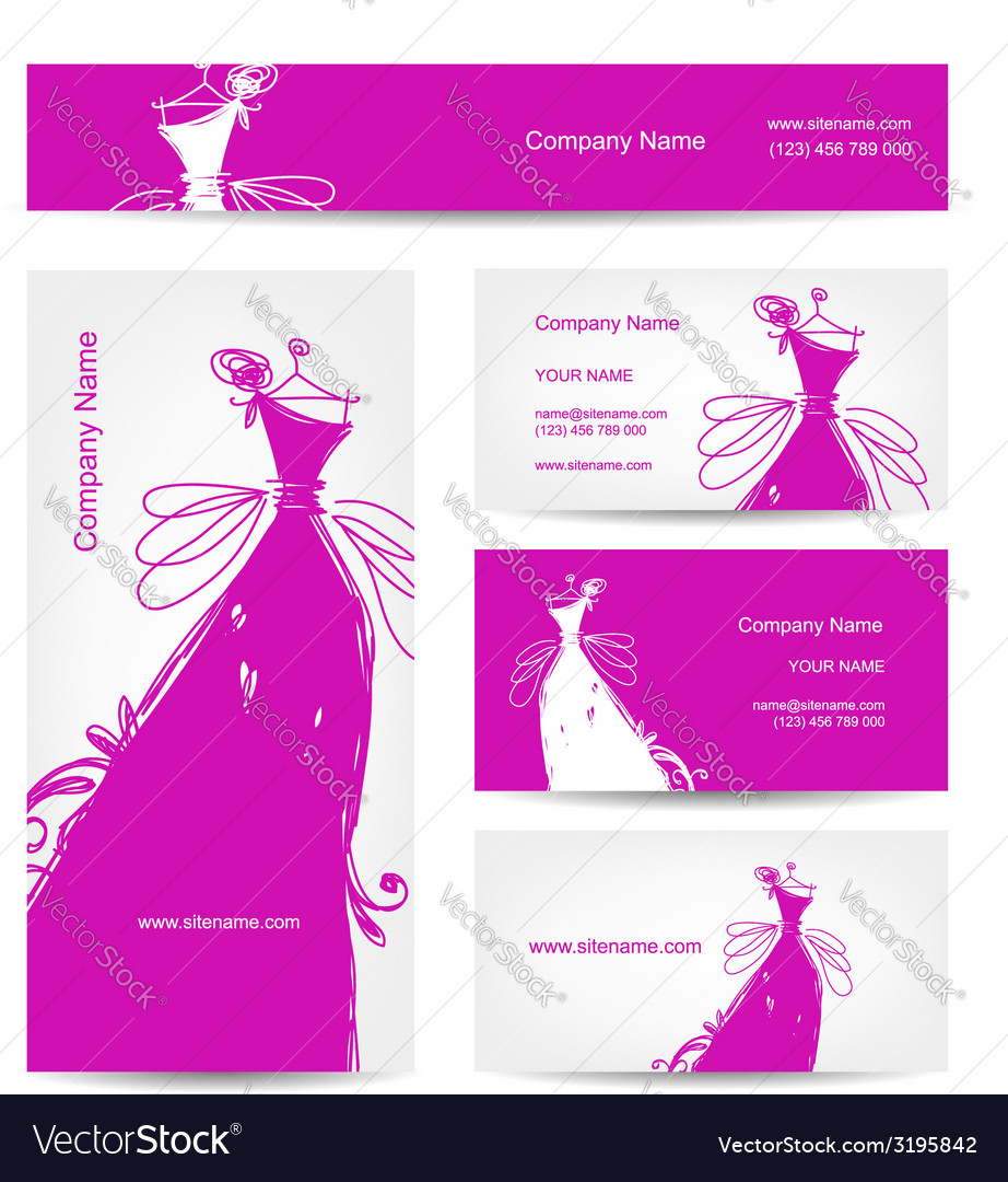 Business cards with wedding dress for your design vector | Price: 1 Credit (USD $1)