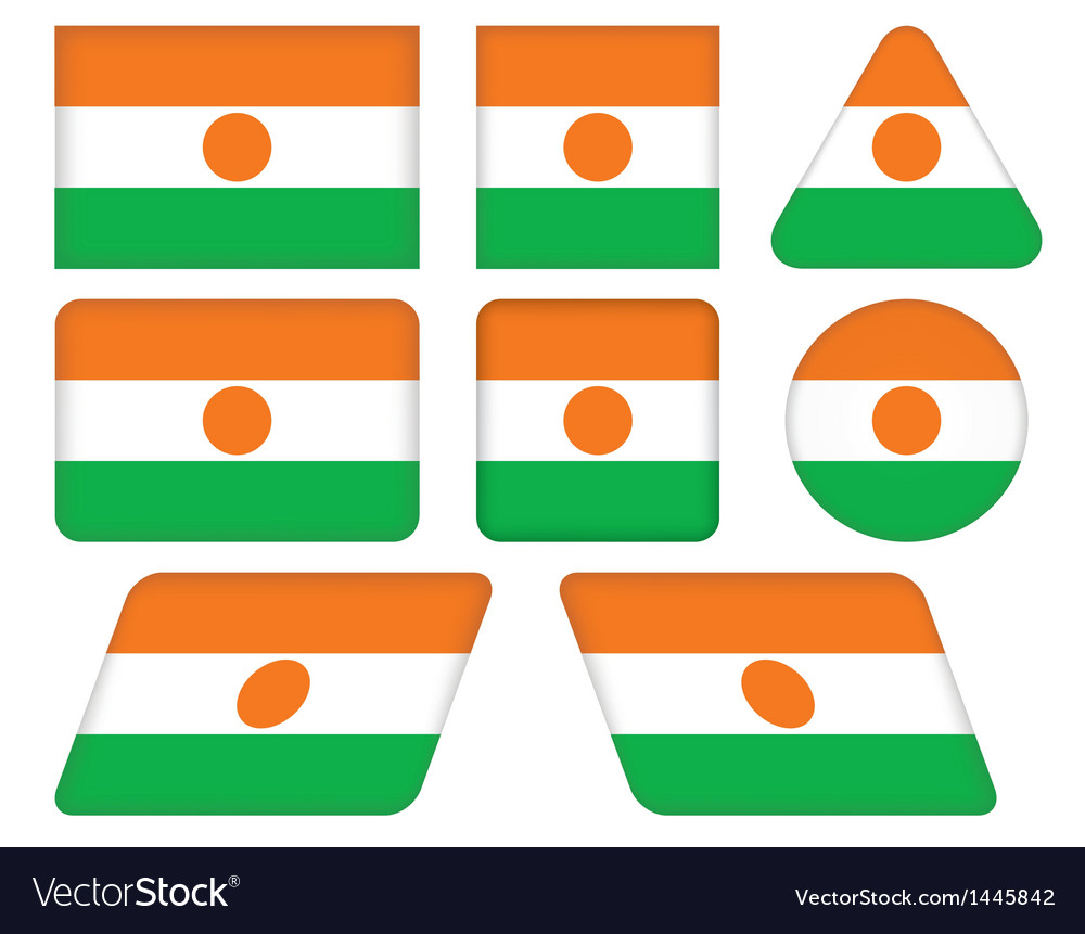 Buttons with flag of niger vector | Price: 1 Credit (USD $1)