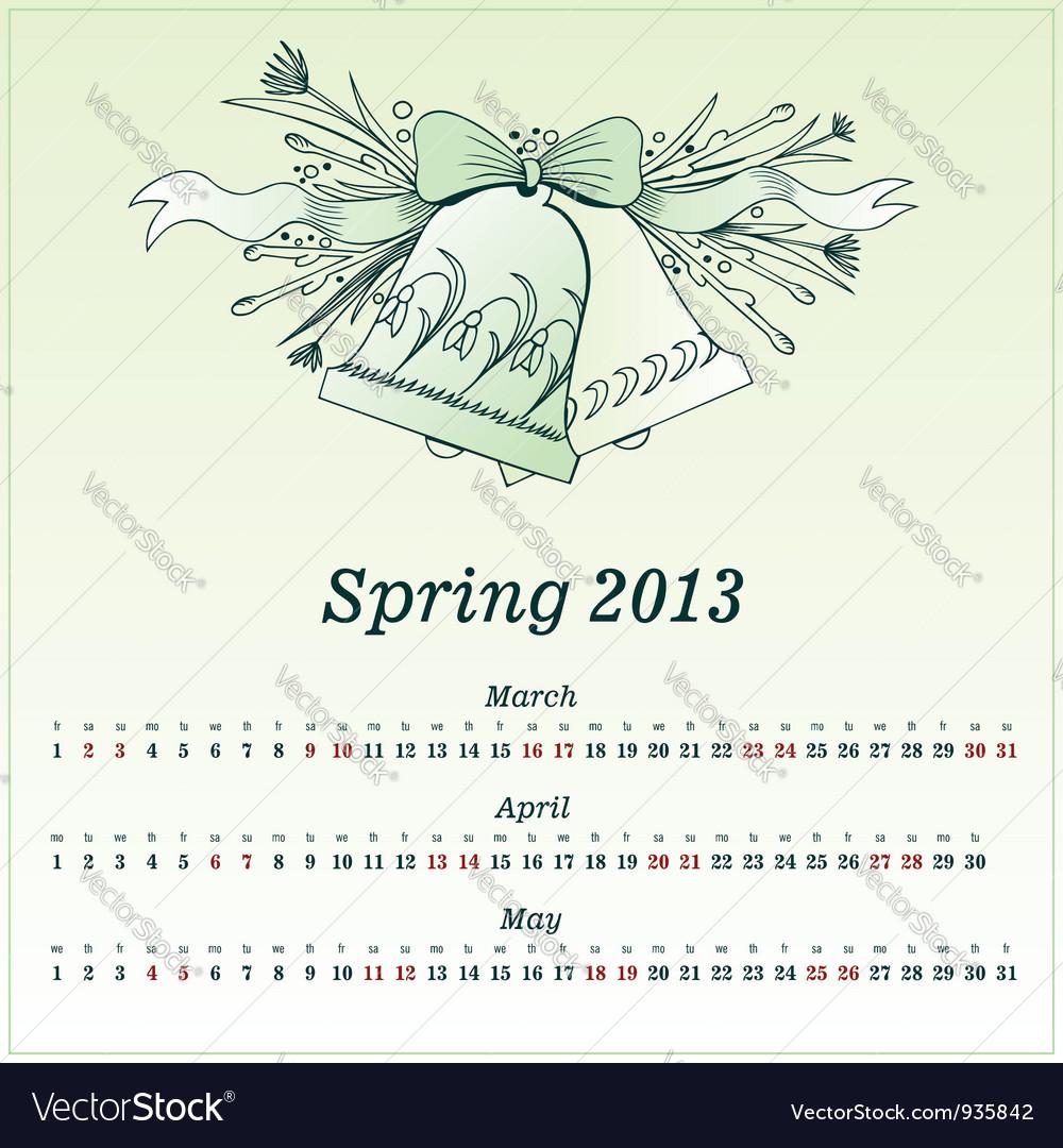 Calendar 2013 spring vector | Price: 1 Credit (USD $1)