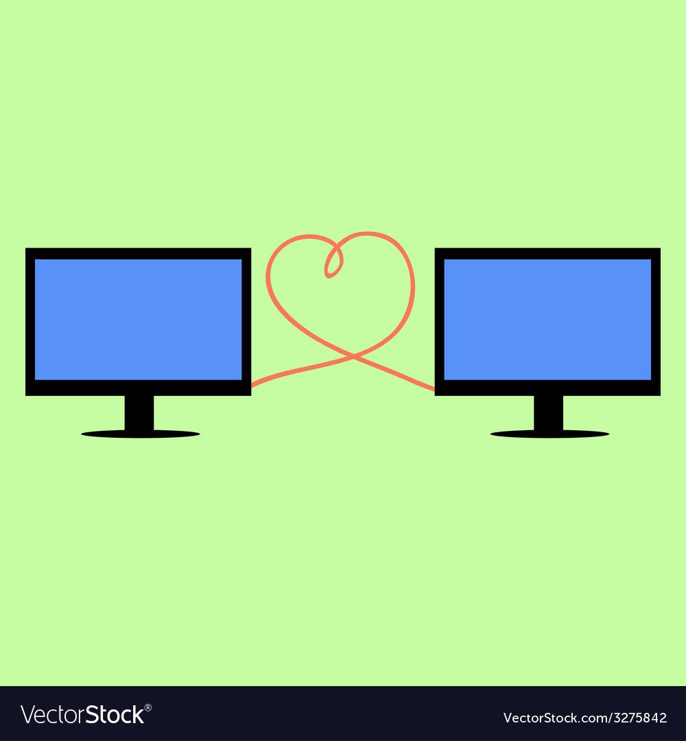 Flat style computers connected with heart vector | Price: 1 Credit (USD $1)