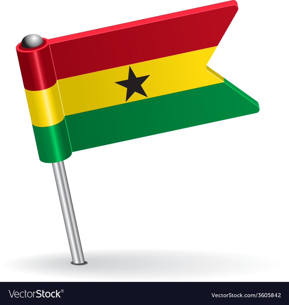 Ghana pin icon flag vector | Price: 1 Credit (USD $1)