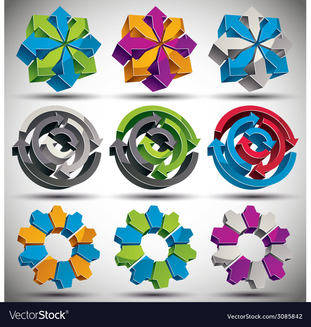 Set of modern style 3d abstract icons vector | Price: 1 Credit (USD $1)