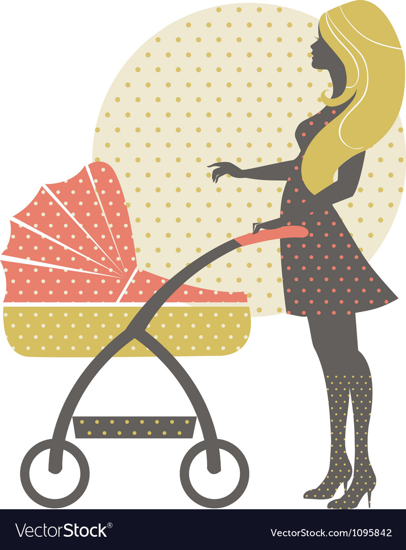 Silhouette of beautiful mother with baby carriage vector | Price: 1 Credit (USD $1)