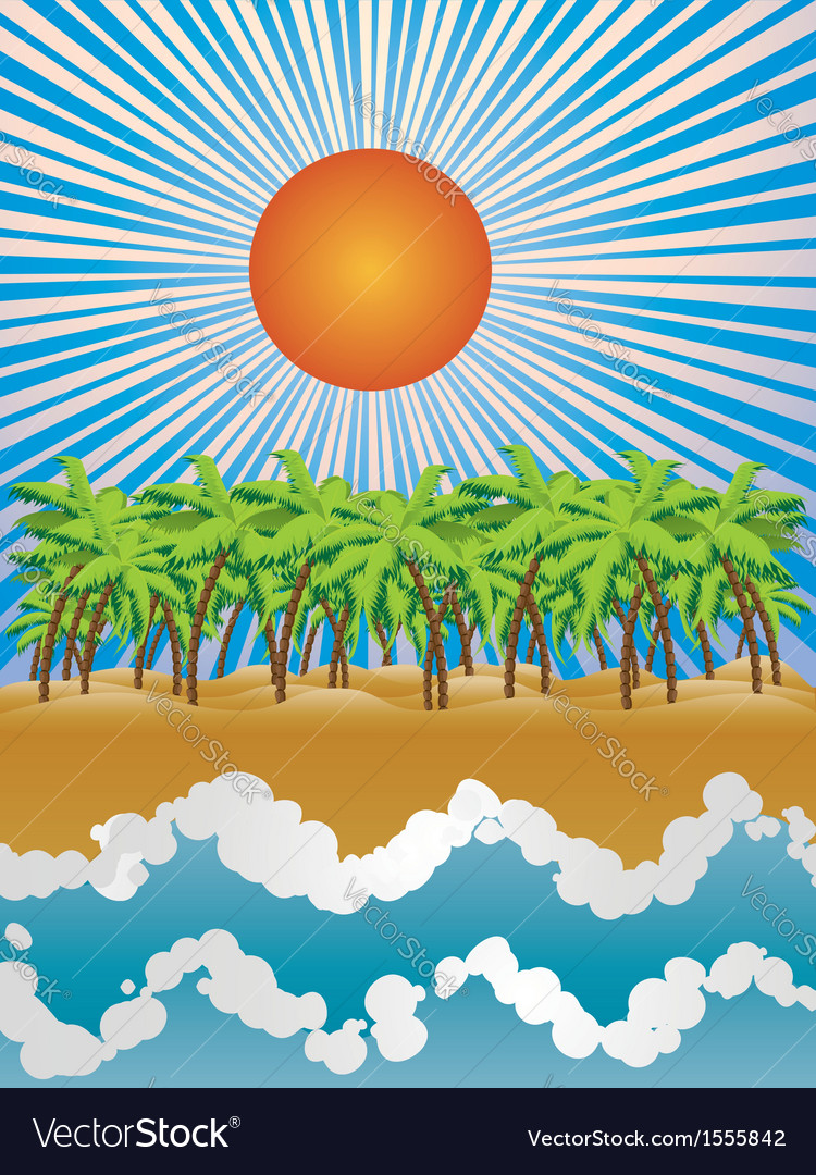 Sunny tropical island vector | Price: 1 Credit (USD $1)