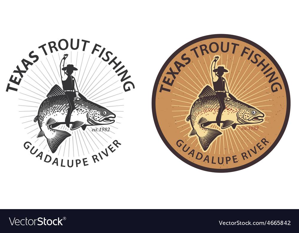 Trout wrangler fish rider vector | Price: 1 Credit (USD $1)