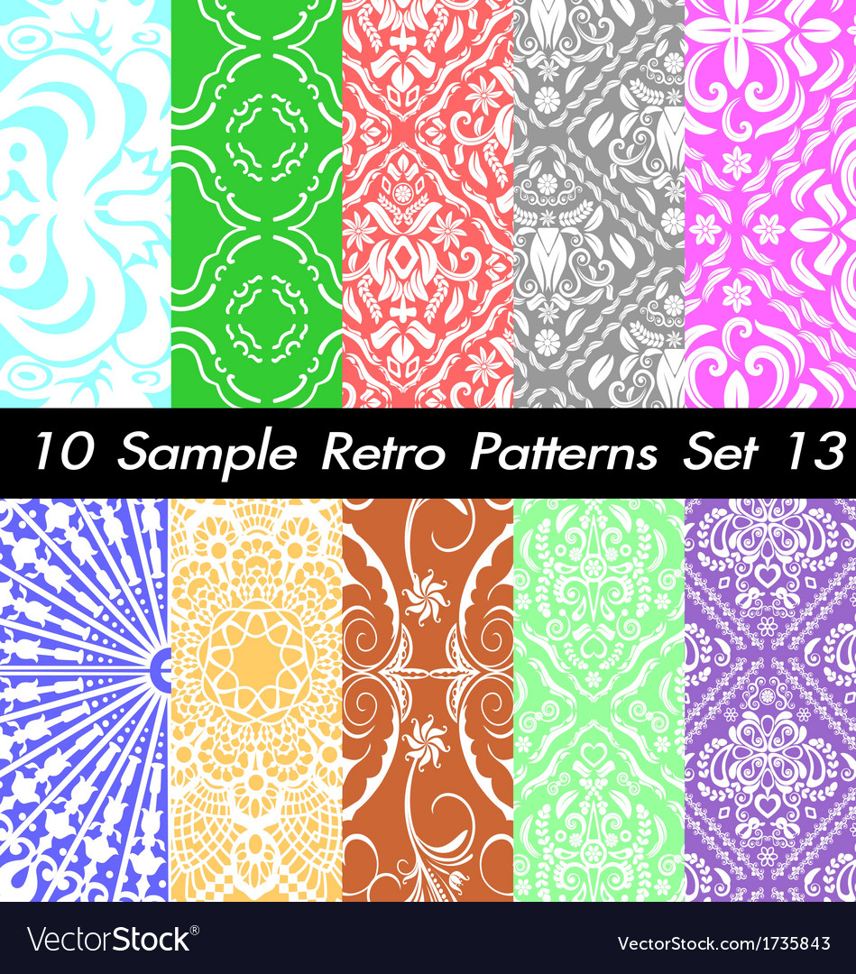 10 retro patterns textures set 13 vector | Price: 1 Credit (USD $1)