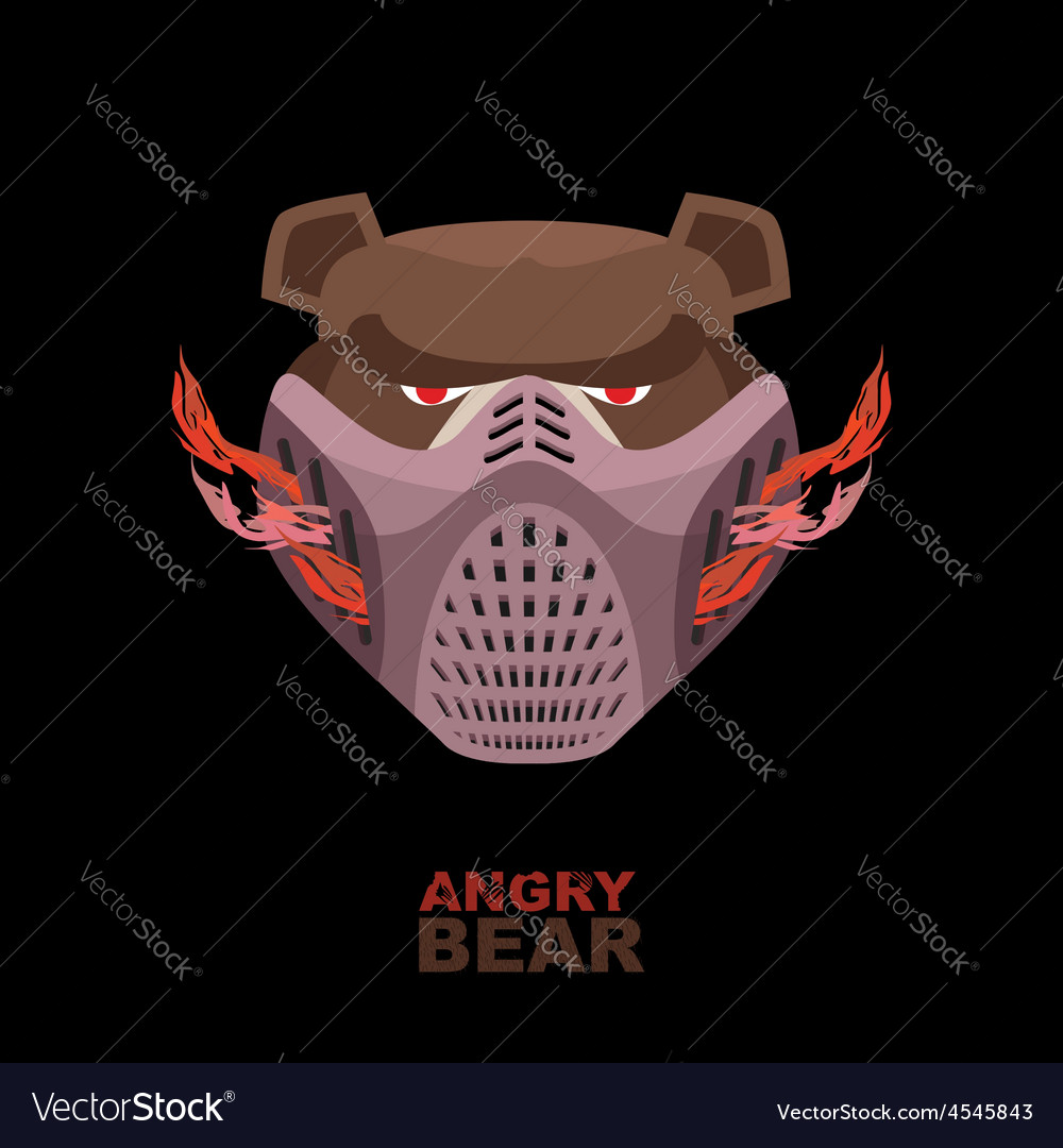 Angry bear in mask a ferocious wild animal vector   Price: 1 Credit (USD $1)