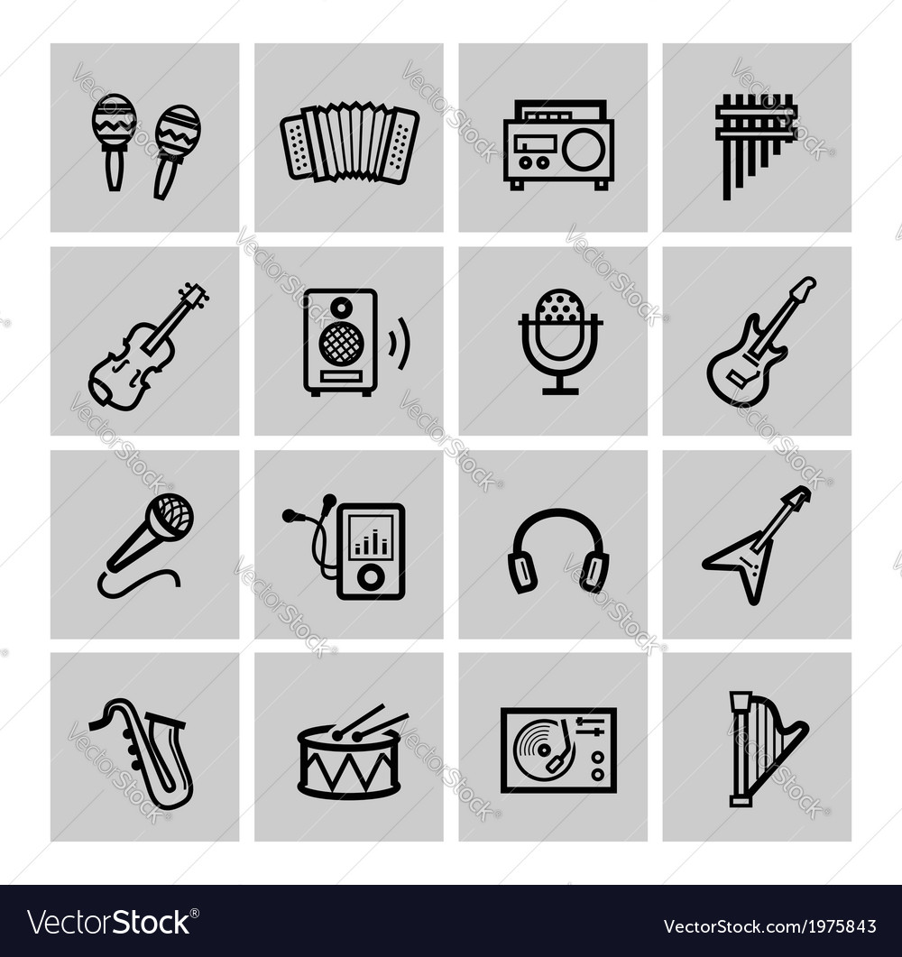 Black music icons set vector | Price: 1 Credit (USD $1)