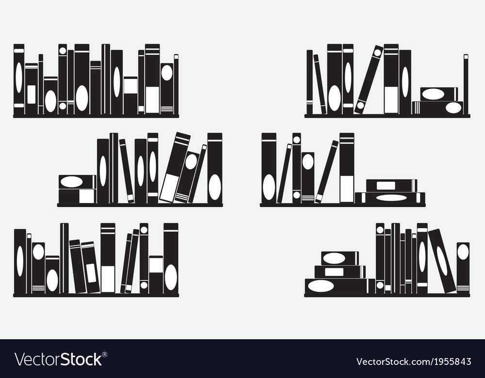Books on the shelves vector | Price: 1 Credit (USD $1)