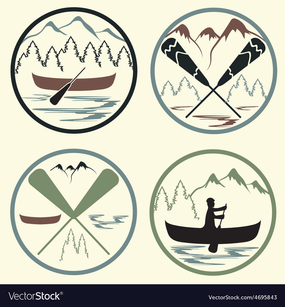 Canoe camp vintage labels set vector | Price: 1 Credit (USD $1)