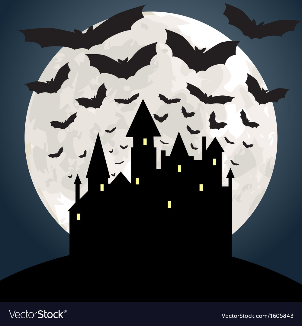 Castle and bat at night vector | Price: 1 Credit (USD $1)