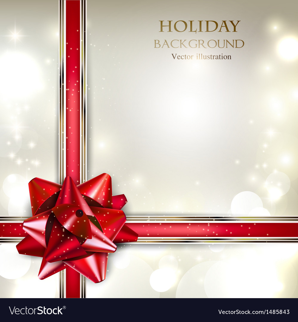 Elegant holiday background with red bow and place vector | Price: 1 Credit (USD $1)