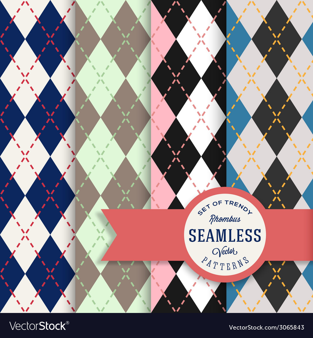 English rhombus seamless pattern set vector | Price: 1 Credit (USD $1)
