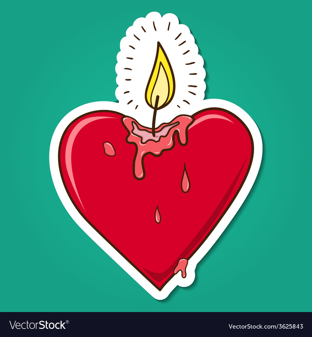 Heart shaped burning candle vector | Price: 1 Credit (USD $1)