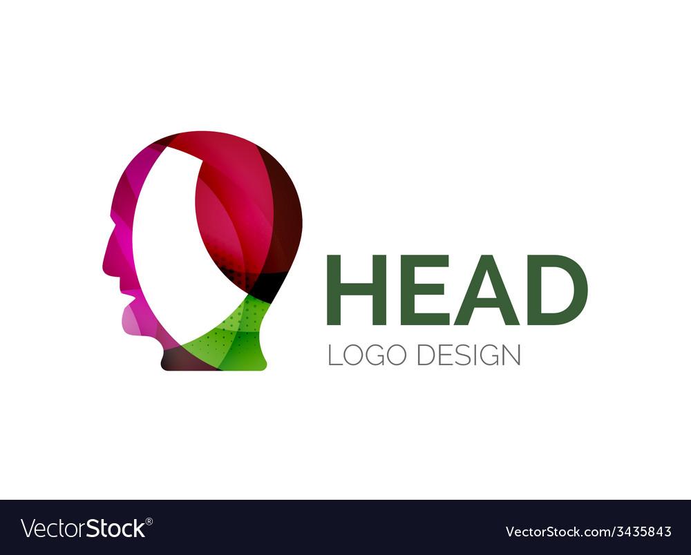 Human head logo design made of color pieces vector   Price: 1 Credit (USD $1)