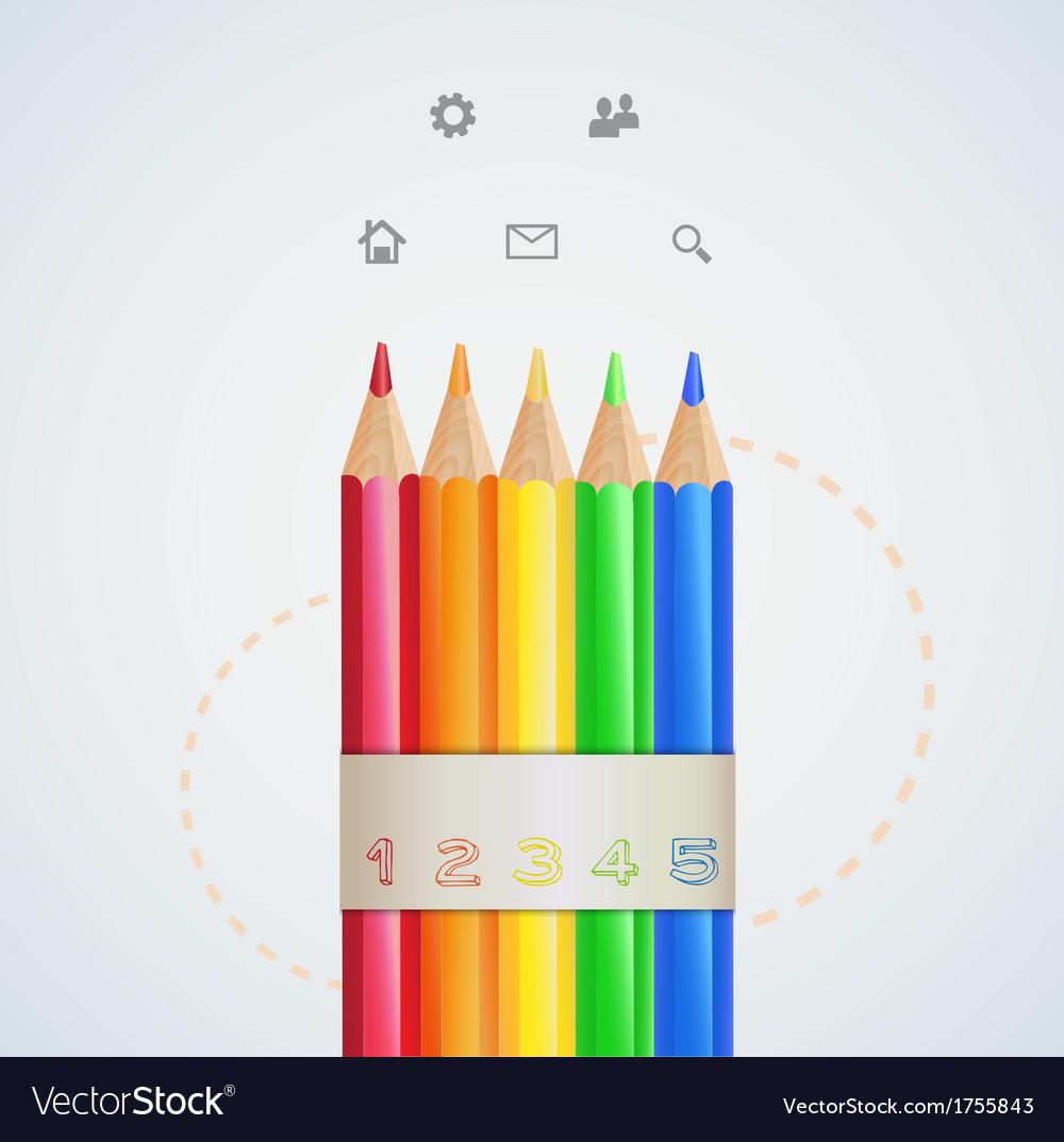 Infographic design color pencils vector | Price: 1 Credit (USD $1)