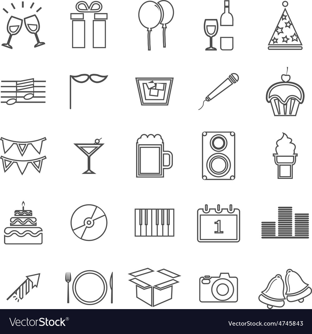 New year line icons on white background vector | Price: 1 Credit (USD $1)