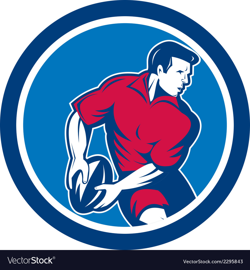 Rugby player passing ball circle retro vector | Price: 1 Credit (USD $1)