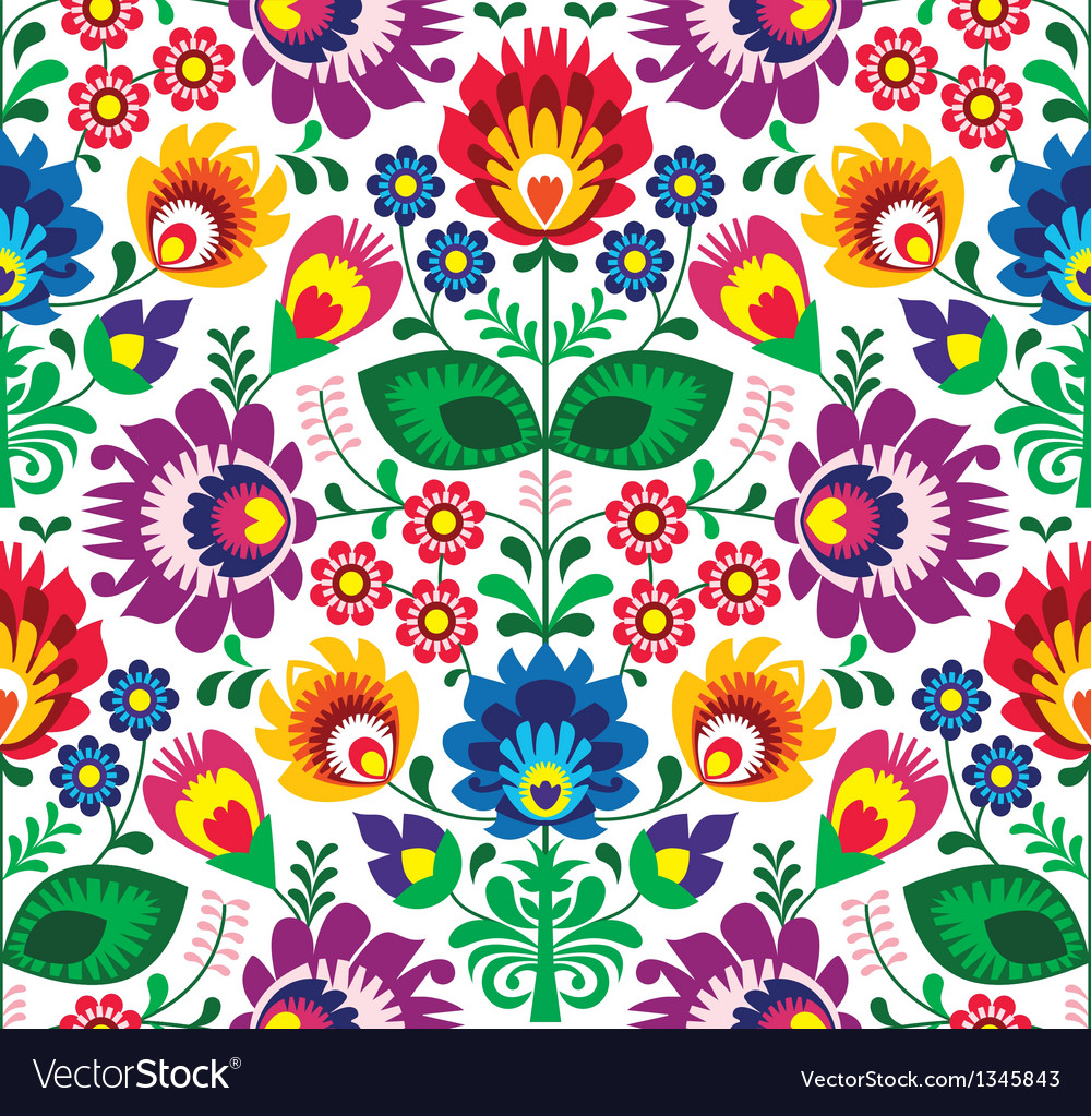 Seamless traditional floral polish pattern vector | Price: 1 Credit (USD $1)