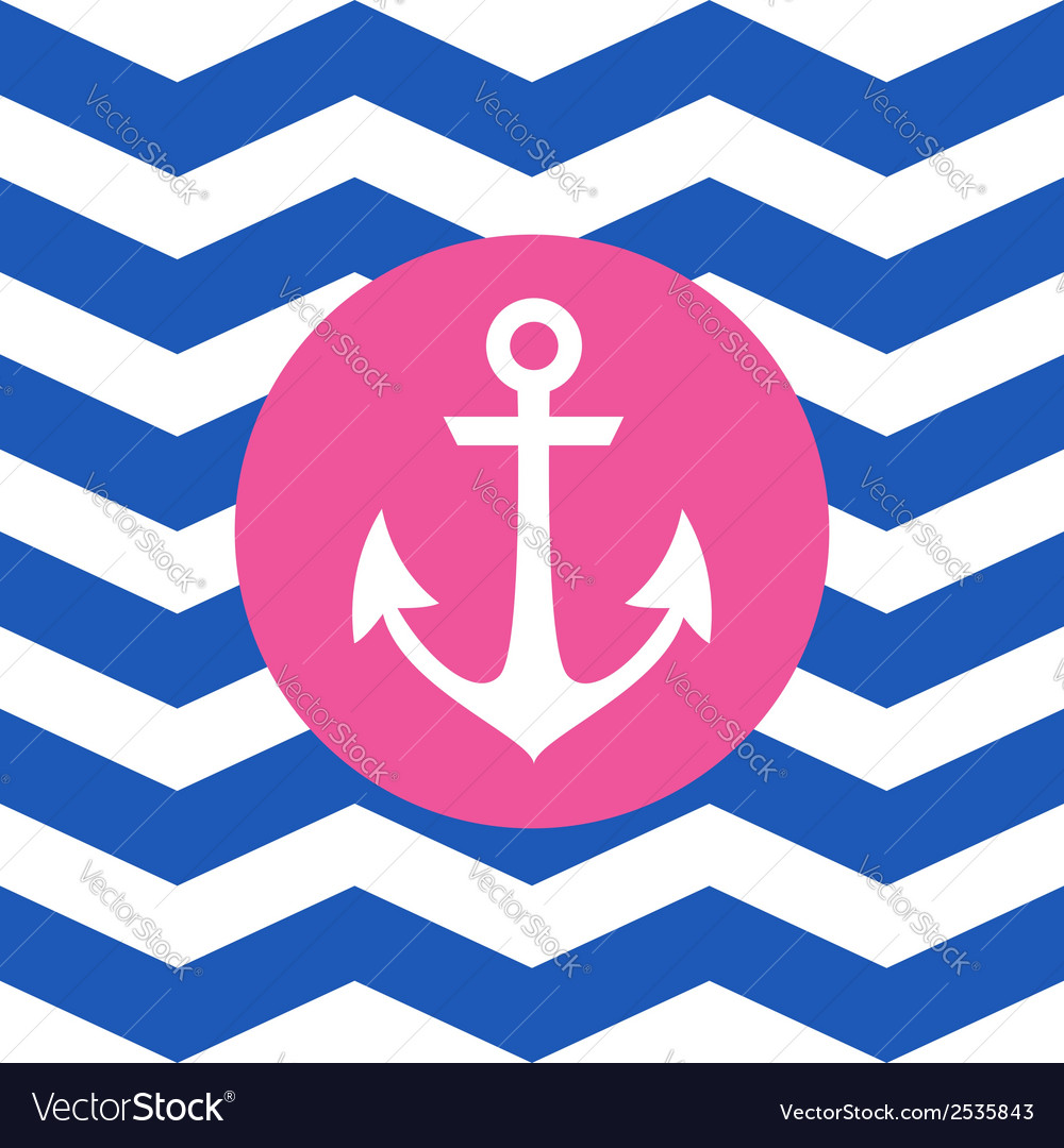 Simple geometric nautical card with anchor vector | Price: 1 Credit (USD $1)