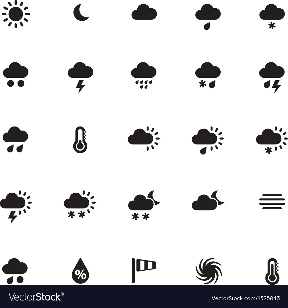 Weather icons on white background vector | Price: 1 Credit (USD $1)