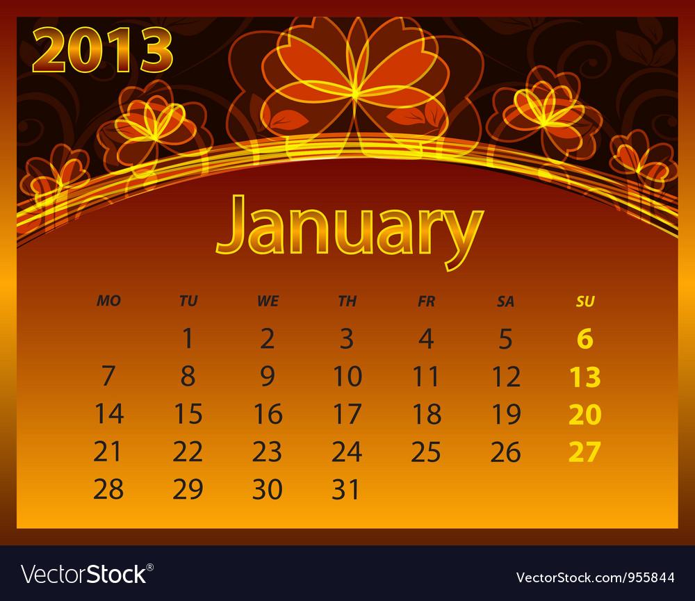 2013 calendar year vector   Price: 1 Credit (USD $1)