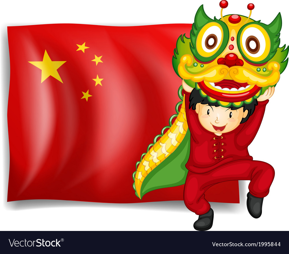 A boy doing the dragon dance in front of the flag vector | Price: 3 Credit (USD $3)